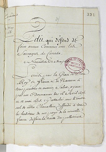 Photo of the Edict that King Louis XIV passed limiting who could participate in the fur trade