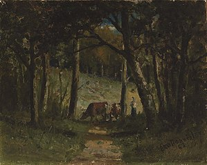 Untitled (cows on path in forest)