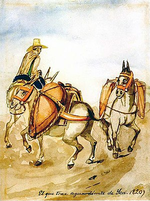 Painting of a man on horseback leading two pack animals