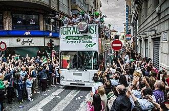 Elche CF - Elche squad and fans celebrating the return to La Liga in 2013
