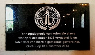 Slavery in South Africa - Plaque commemorating 175th Anniversary of emancipation, Saron Mission Church, Saron, Western Cape Province