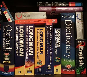 English-English dictionaries and thesaurus books.JPG