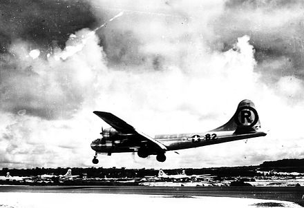 Enola Gay, a Silverplate version of the Boeing B-29 Superfortress landing after delivering Little Boy over Hiroshima Enola Gay2.jpg