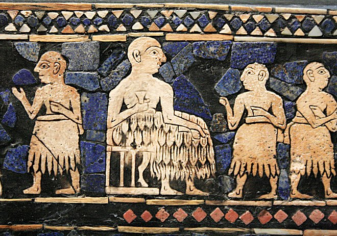 Enthroned Sumerian king of Ur, with attendants. Standard of Ur, c. 2600 BC. Enthroned King of Ur.jpg
