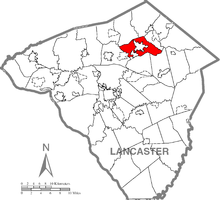 Map of Lancaster County, Pennsylvania highlighting Ephrata Township