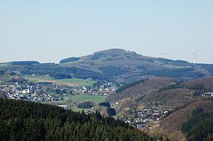 Eifel - View of the Ernstberg from the Mäuseberg to the SE