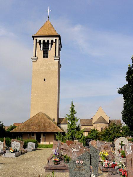 Alsace, Bas-Rhin, Église Saint-Trophime d'Eschau (PA00084707, IA00023089).Campanile construit au XXe.