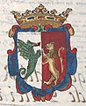 Escudo dos reis suevos da Galiza em Títulos de los Reyes de España de Valonga y Gatuellas (c. 1660-1665).jpg
