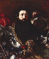 Bearded man in armour, accompanied by a black servant