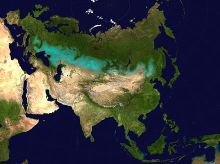 The Kazakh Steppe of part of the Eurasian Steppe Belt (in   on the map). Eurasian steppe belt.jpg