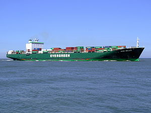 Ever Deluxe p5 approaching Port of Rotterdam, Holland 04-Aug-2007.jpg