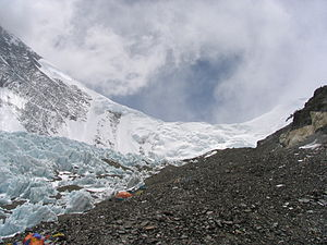 North Col - Mount Everest. The North Col is the lowest point of the snowy ridge in the middle.