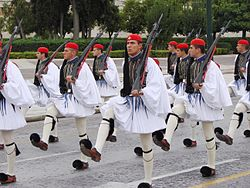 Evzones with the traditional full dress ceremonial uniform