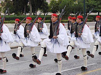 Presidential Guard (Greece) - Evzones with the traditional full dress ceremonial uniform