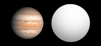 COROT-4b - Size comparison of COROT-4b with Jupiter.
