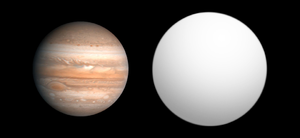 HAT-P-14b - Size comparison of HAT-P-14b (gray) with Jupiter.