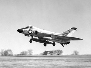 Naval Air Station Olathe - A US Navy Reserve F-6A Skyray taking off from Olathe, 1963.