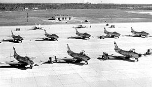 125th Fighter Wing - North American F-86L Sabres of the 159th FIS at Imeson Airport, 1957
