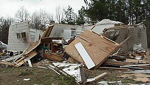 Mobile home - Home struck by F2 tornado