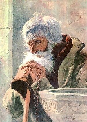 Julian Fałat - Old man praying, 1881