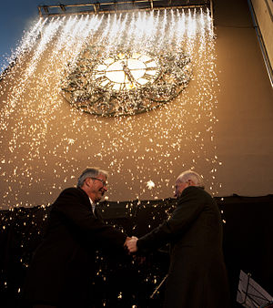 Oslo Astrological Clock - Mayor Fabian Stang and Christian Ringnes during the clock's unveiling ceremony.