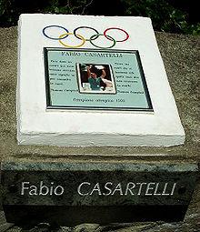 A plaque on Col de Portet d'Aspet where Fabio Casartelli died