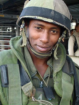 Ethiopian Jews in Israel - Beta Israel soldier in Nablus, 2006