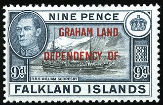 A 1944 stamp of the Falkland Islands overprinted for use in Graham Land. Falkland Islands Dependencies 1944 9d Graham Land.jpg