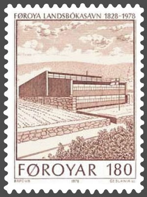 National Library of the Faroe Islands - National Library of the Faroe Islands, on a 1978 stamp