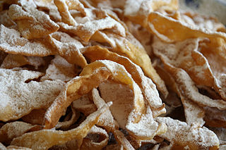 Angel wings traditional sweet crisp pastry made out of dough