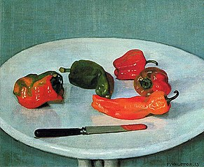 Felix Vallotton, Red Peppers on round, white Table