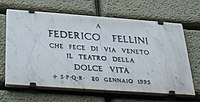 Fellini plaque, Via Veneto.jpg
