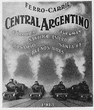 Rail transport in Argentina - Advertisement for the Central Argentine Railway (1913).