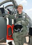 First Danish Female Fighter Pilot Lt. Line Bonde with her T-38 Talon at Sheppard AFB, Texas.jpg