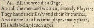 All the world's a stage - Image: First Folio, Shakespeare 0212 (All the world's a stage)