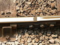 Fishplate joining two sections of bullhead rail at Cardiff Bay railway station 01.jpg