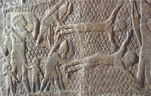 Assyrians skinning or flaying their prisoners alive Flaying of rebels.jpg