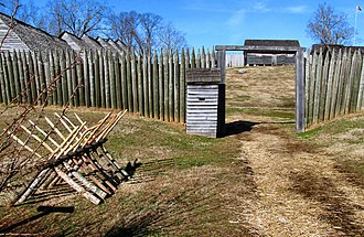 Fort Loudoun (Tennessee) - Detail of the south entrance, with sentry box and chevaux de frise