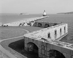 Fort Preble - Fort Preble, showing some of the incomplete Third System casemates built during the Civil War.  Spring Point Ledge Light and Fort Gorges are in the background.