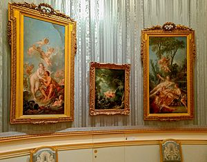 The Swing (painting) - The Swing (centre), as displayed at the Wallace Collection, London.