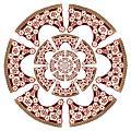 Framdel till tornerschabrak i Maria Eleonoras färger rött och vitt tillverkat för bröllopstorneringen 1620 - Livrustkammaren - 91558.tif