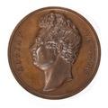 Framsida av bronsmedalj med Gustaf Wappers profil - Skoklosters slott - 99228.tif