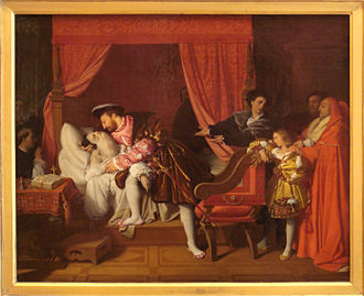 Francis I of France - Francis I receiving the last breath of Leonardo da Vinci in 1519, by Ingres, painted in 1818.