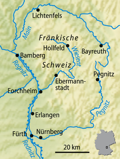 Regnitz as the western boundary of Franconian Switzerland (interactive map)