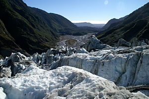 View into the valley from Franz-Josef glacier,...