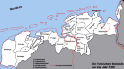 Map of Frisia in 1300