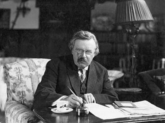 G. K. Chesterton - Chesterton in his study