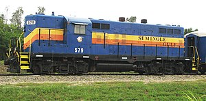 Seminole Gulf Railway - An EMD GP9 of the Seminole Gulf Railway — Fort Myers, Florida.