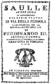 Gaetano Andreozzi - Saulle - titlepage of the libretto - florence 1799.png