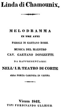 Gaetano Donizetti - Linda di Chamounix - title page of the libretto - Vienna 1842.png